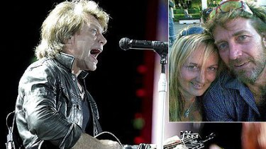 A Bon Jovi concert in Brisbane this month was targetted by scalpers. Inset: Julia Foster and Steve Taylor say they were duped.