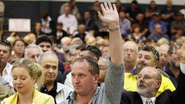 Barnaby Joyce at a meeting in Mildura.