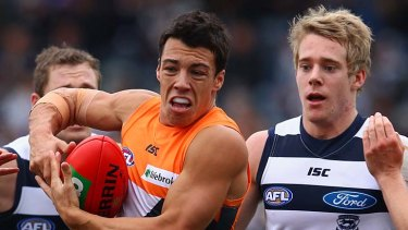 Giant Dylan Shiel sets the pace in the first quarter against Geelong.