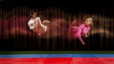 Safwan Khalil and taekwondo world champion Carmen Marton train at the AIS.