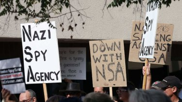 Protesters express their opposition to the new National Security Agency Utah Data Center.