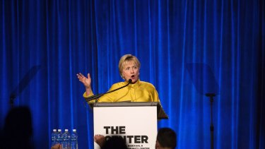 Former Secretary of State Hillary Clinton speaks after accepting the Trailblazer Award during the LGBT Community Centre Dinner at Cipriani Wall Street.
