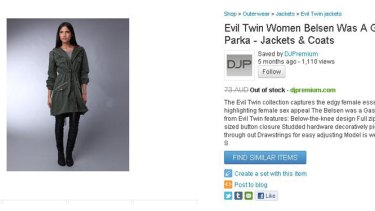 Apology ... the 'Belsen Was A Gas' women's parka from Evil Twin.