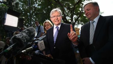 Prime Minister Kevin Rudd with Deputy Prime Minister Anthony in Sydney yesterday. Mr Albanese is being questioned over pictures of him having a drink with former Labor MP Craig Thomson.