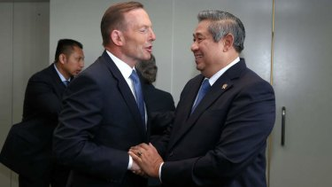 Prime Minister Tony Abbott meets with Indonesian President Susilo Bambang Yudhoyono on the sidelines of the United Nations General Assembly. Photo: Alex Ellinghausen