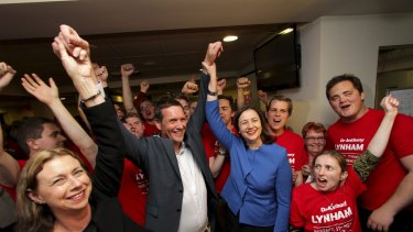 Victorious Labor candidate Anthony Lynham with jubilant Opposition Leader Annastacia Palaszczuk celebrating victory in the Stafford by-election.