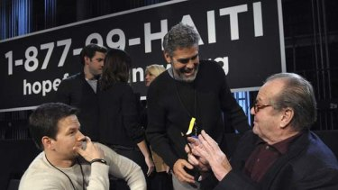 Mark Wahlberg, George Clooney and Jack Nicholson take part in the Hope for Haiti Now telethon.