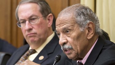 Represenative John Conyers, right, and House Judiciary Committee Chairman Bob Goodlatte, of Virgina , left, question witnesses from the National Security Agency, FBI, and Justice Department.