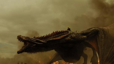 I can see my house from up here: Daenerys atop Drogon.