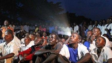 Mass screening ... Ugandans watch <em>Kony 2012</em>.