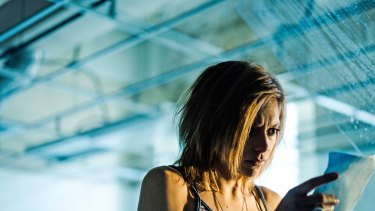 "Lizzie Brochere as Tess in a scene from ""Falling Water"", a new cable TV series that uses a fictional dream control technique as a plot device."