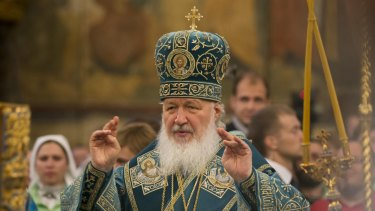 Russia's Patriarch Kirill conducts a religious service in the Kremlin in Moscow.