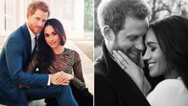 Prince Harry and Meghan Markle pose for official engagement photos.