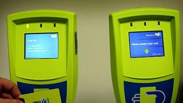 Myki travel card scanners.
