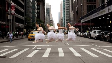 Grateful for the gifts … members of the Australian Ballet stopped traffic in New York last month, where they were able to perform thanks to support from philanthropists.