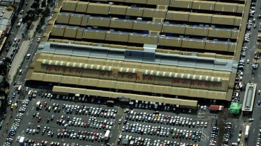 An aerial photo of the market's current carpark.