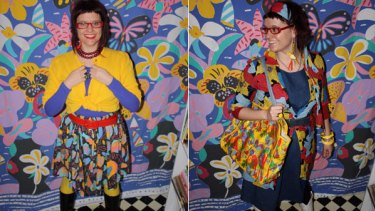 Blog portraits ... Two of Jackie Ruddock's Ken Done inspired outfits.