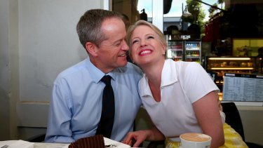 Opposition Leader Bill Shorten with wife Chloe.