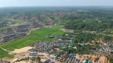 Aerial photo provided by Proactiva Open Arms shows a new Rohingya refugee camp near Phalungkhali, Bangladesh.