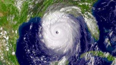 Hurricane Katrina hitting the US coast in August 2005.