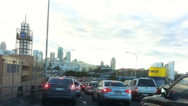 Backed up ... traffic on the Anzac Bridge as a result of the protest on the Sydney Harbour Bridge.