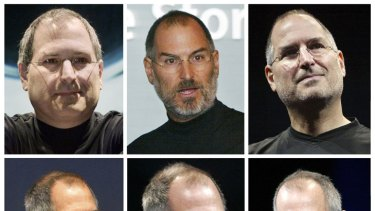A montage of file photos of Steve Jobs dating (top row L to R) 2000, 2003, 2005, (bottom row L to R) 2006, 2008 and 2009 showing his dramatic weight loss as he battled with illness.
