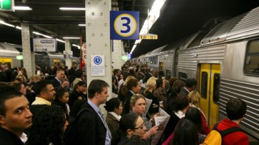 After work commuters crammed onto Platform 3 at Wynyard Station.