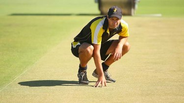 WACA curator Matt Page looks at the pitch after inspection on Wednesday.