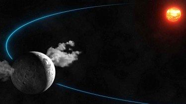 An artist's impression of water outgassing from two sources on the dwarf planet Ceres, which is also the largest asteroid in the solar system.
