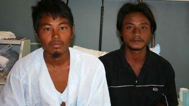 Haung Htaik (left) and Ko Ko Oo recovering yesterday.