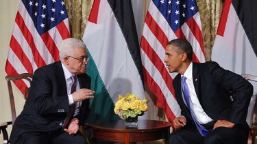 Getting down to business: President Barack Obama meets Palestinian Authority President Mahmoud Abbas in New York.
