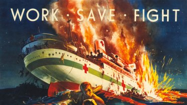 A poster produced during World War II to rally support for the war effort. It depicts the moments after the Centaur was torpedoed. It sank in just three minutes.