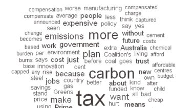 A word cloud highlighting the most commonly used words in Tony Abbott's address to the nation last night.