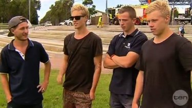 """""""Heroes"""" ... the students who rescued a woman from a sinking vehicle."""