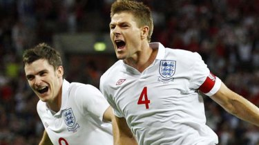 Skipper to the resuce . . . Steven Gerrard scored a brace of goals for England against Hungary.