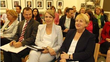 Tanya Plibersek, sitting with Jenny Macklin and Graham Perrett during the ALP caucus meeting, has been elected deputy Labor leader.