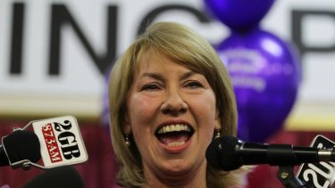 Still smiling ... Maxine McKew makes a speech after losing her Bennelong seat.