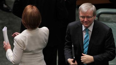 Foreign Minister Kevin Rudd is preferred ALP leader for 44 per cent of voters in the latest <i>Age</i>/Nielsen poll compared to 19 per cent for Prime Minister Julia Gillard.