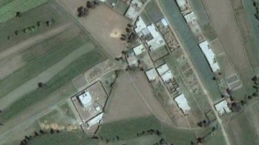 This Google Earth image shows Osama bin Laden's compound toward the left side of the frame.