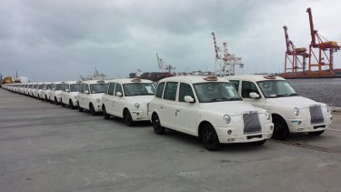 London cabs lined up at Fremantle wharf.