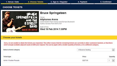 Problems getting tickets: demand has been overwhelming for Bruce Springsteen's concerts.