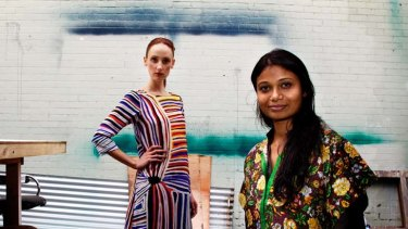 Ethical … Roopa Pemmaraju with a model showing one of her ''easy, wearable'' designs featuring a print by an indigenous artist.