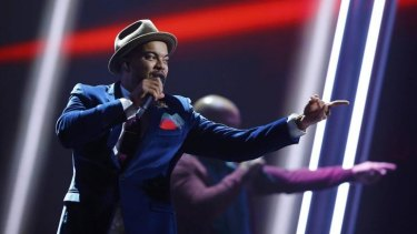 Singer Guy Sebastian rehearses for the 60th annual Eurovision Song Contest.