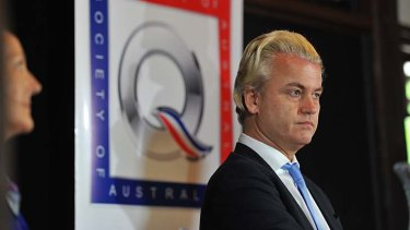 Geert Wilders at the clandestine press conference.