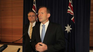 """""""The Coalition will never support Malaysia""""... Opposition Leader Tony Abbott and immigration spokesman Scott Morrison after a compromise bill on asylum seekers was defeated in the Senate this evening."""