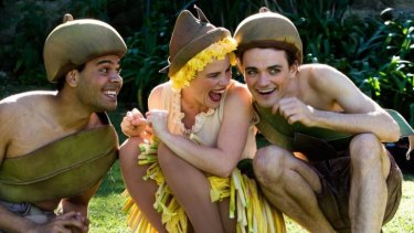 L-R Kerri Simpson (standing in for Kirk Page) as Cuddlepie, Georgia Adamson as Ragged Blossom, and Jacob Warner as Snugglepot, in May Gibbs' garden in Neutral Bay, Sydney. 12th May 2015 Photo: Janie Barrett