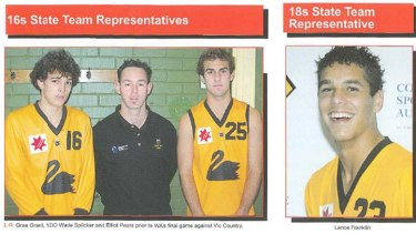 A Perth Football Club magazine shows Grae Grant (far left) in his under 16 state jumper. To the far right is a then-teenage Hawthorn superstar Buddy Franklin.
