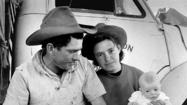 As it was ... The Drover's Wife shows a proud young bloke gazing lovingly at his daughter and his wife.