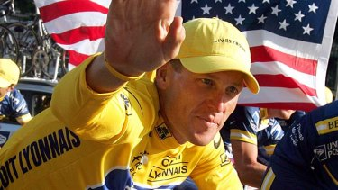 Lance Armstrong on the Champs-Elysees after the 20th and final stage of the 2004 Tour.