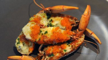 West  Australian  red claw  yabbies, leek and gorgonzola gratin at Rubicon.